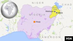 Map of Nigeria showing Borno State