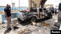 Hiện trường vụ đánh bom tự sát ở Rashidiya, Baghdad, ngày 13/7/2016.