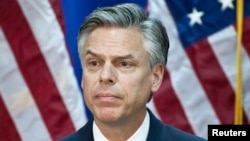 FILE - Republican presidential candidate and former Utah Governor Jon Huntsman speaks at the Myrtle Beach Convention Center in Myrtle Beach, South Carolina, Jan. 16, 2012.