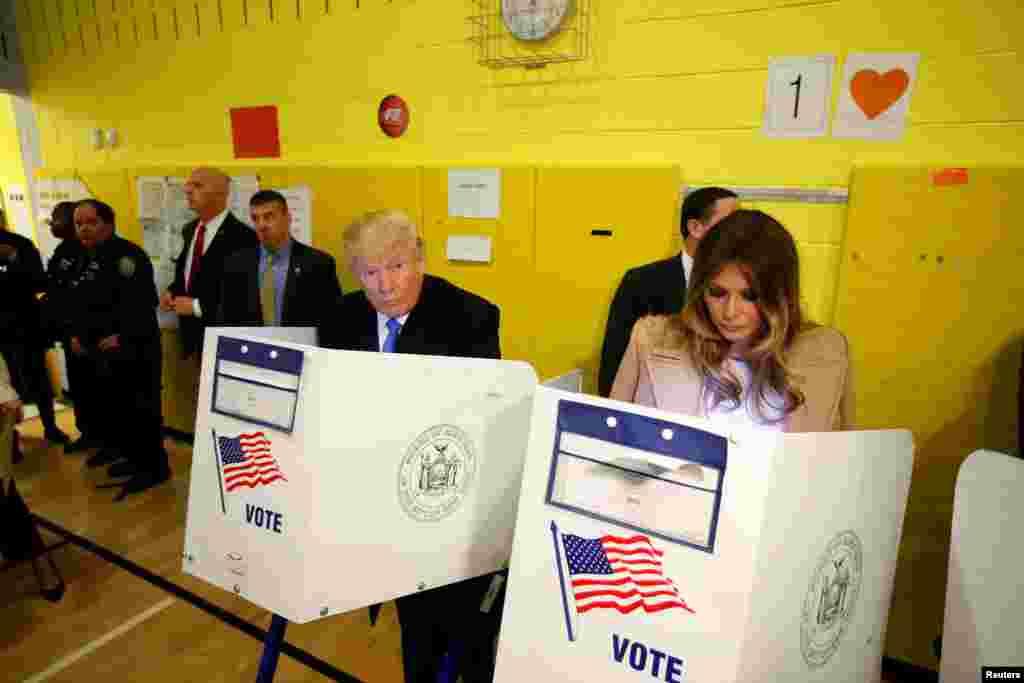 Republican presidential nominee Donald Trump and his wife Melania Trump