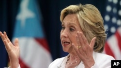 Democratic presidential candidate Hillary Clinton speaks at a news conference after a discussion about health care in San Juan, Puerto Rico, Sept. 4, 2015.