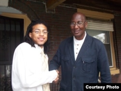 Bakary Tandia (right) poses for a photo with a member of his grassroots volunteer team, in Philadelphia, Pennsylvania, during the 2008 election campaign. (Credit: Bakary Tandia)