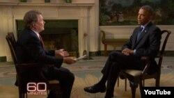 """Presiden AS Barack Obama (kanan) dalam wawancara yang ditayangkan pada program """"60 Minutes"""" stasiun televisi CBS Minggu malam (11/10)."""