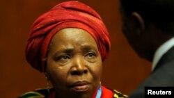 Shugabar Kungiyar Tarayyar Afirka ta AU, Nkosazana Dlamini-Zuma, a lokacin wani taro a birnin Geneva na Switzerland