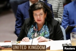 Karen Pierce, the U.K. ambassador to the United Nations, speaks during an emergency U.N. Security Council meeting on Syria at U.N. headquarters in New York, April 14, 2018.