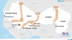 Peta perbatasan Niger dan Mali.