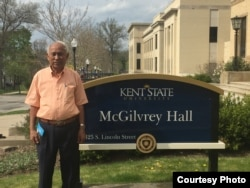 """Chum Mey, a former prisoner of S-21 security center, is one of the guest speakers for the three-day public forum on """"Cambodia After Kent State"""" at Kent State University, on Monday, April 26, 2016. (Courtesy Photo)"""