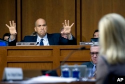 Sen. Cory Booker D-N.J., questions Homeland Security Secretary Kirstjen Nielsen during a hearing before the Senate Judiciary Committee on Capitol Hill, Jan. 16, 2018, in Washington