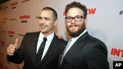 "James Franco and Seth Rogen attend early showing of 'The Interview,"" in Los Angeles, California."