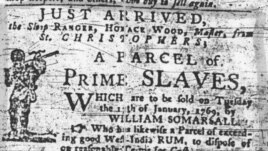 A slave sale advertisement from 1769