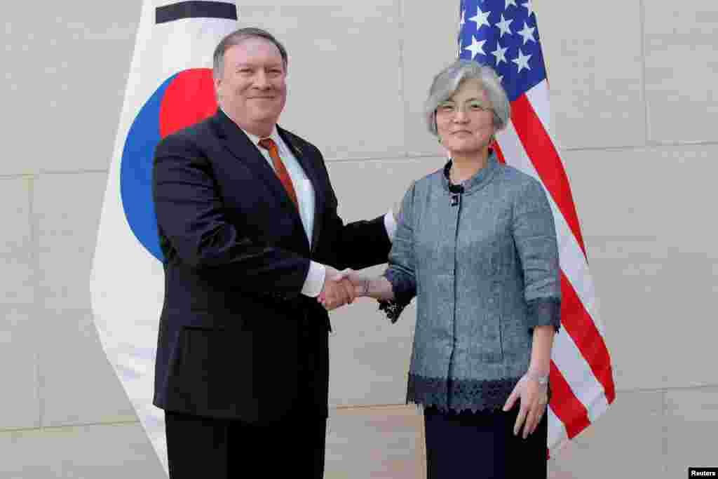 دیدار مایک پمپئو، وزیر خارجه آمریکا با وزیر خارجه کره جنوبی پیش از آغاز جلسه اعضای شورای امنیت سازمان ملل در نیویورک