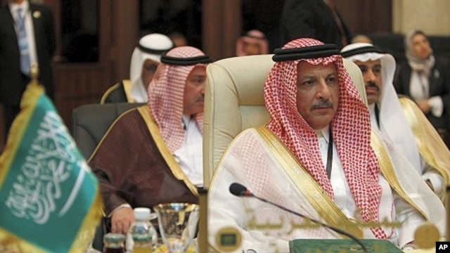 Saudi Arabia's Permanent Representative to the Arab League Ahmad bin Abdulaziz Al-Qattan attends Arab League foreign ministers meeting in Baghdad March 28, 2012.