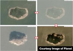 2017년 함박도의 변화 과정을 촬영한 위성사진. 화살표 방향으로 2017년 6월과 7월, 8월, 12월에 촬영됐다. 사진제공=Planet Labs Inc.