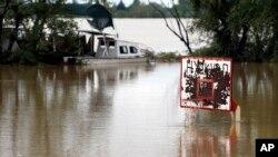 Poplavljeni koš uz obalu Save u Sremskoj Mitrovici, 17. maja 2014.
