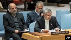2018年1月5日時伊朗代表在聯合國安理會發言。