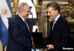 رئیس جمهوری آرژانتین (راست) و نخست وزیر اسرائیل