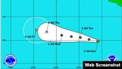Primera depresión tropical de la temporada, frente a las costas de Manzanillo, México. [Mapa: Centro de Huracanes de Miami].