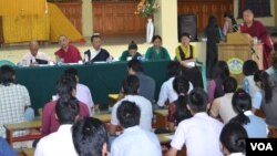 Geshe Jamphel Drakpa addressing the selected candidates of special recruitment training academy
