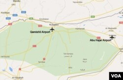 Map showing the proximity of the Abu Hajar and Qamishli airports in northeastern Syria