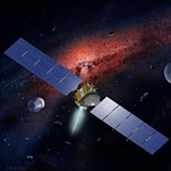 An artist's picture of the Dawn spacecraft in space.