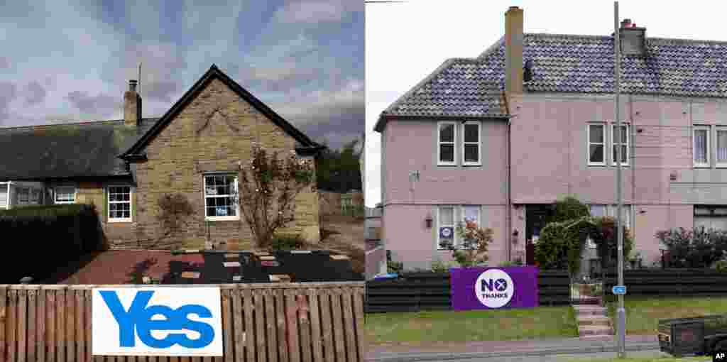 A homeowner displays Yes signs in Eccles, Scotland (left) while another displays No signs at Burnmouth, Scotland (right), Sept. 8, 2014.