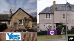 2014年9月8日,蘇格蘭埃克爾斯一個支持獨立的標語牌(左)以及蘇格蘭伯恩茅斯一個反對獨立的標語牌(右)。