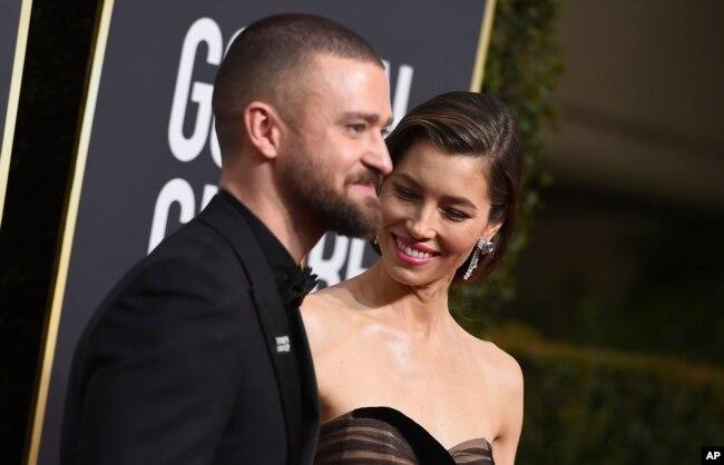 Justin Timberlake y su esposa Jessica Biel en la entrega 75 de los Premios Globos de Oro. Beverly Hilton Hotel, Beverly Hills, California. Enero 2018.
