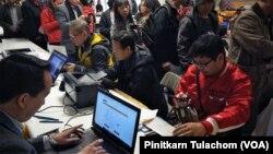บรรยากาศการลงทะเบียนเลือกตั้งของชาวไทยในสหรัฐฯที่กรุงวอชิงตัน