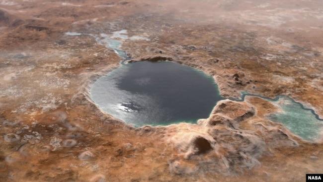 Jezero Krateri'nin milyarlarca yıl önceki olası görüntüsünün illüstrasyonu