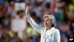هیلاری کلینتون در آخرین شب از کنوانسیون ملی حزب دموکرات در فیلادلفیا - ۲۸ ژوئیه ۲۰۱۶