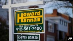 지난 1월 미국 펜실베니아주 레바논의 한 주택에 판매 안내판이 붙어있다. (자료사진)