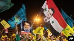 Beyrut'ta Suriye Devlet Başkanı Beşar Esad lehine gösteri yapan Hizbullah yandaşları