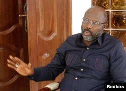 President-elect George Weah of the Coalition for Democratic Change (CDC) speaks during an interview with Reuters at his residence in Monrovia, Liberia, Jan. 2, 2018.
