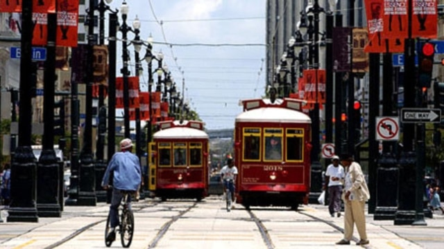 Streetcars along Canal Street in New Orleans, Louisiana