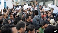 Une des nombreuses manifestations qui secouent la Tunisie depuis décembre