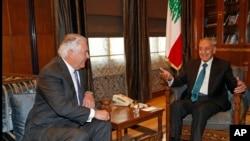 Lebanese Parliament Speaker Nabih Berri, right, meets with U.S. Secretary of State Rex Tillerson, left, at Berri's house, in Beirut, Lebanon, Thursday, Feb. 15, 2018.