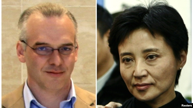 A combination photograph shows British businessman Neil Heywood (L) at an Aston Martin dealership in Beijing, May 26, 2010, and Gu Kailai, wife of fallen Chinese politician Bo Xilai, at a mourning service held for her father-in-law in Beijing, China, Janu