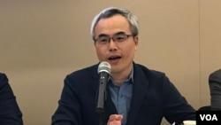 台湾媒体观察教育基金会董事长罗世宏2019年10月16日参加全球台湾研究中心座谈会(美国之音锺辰芳拍摄)
