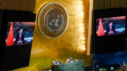 中国领导人习近平在联合国大会上发表讲话。(2021年9月21日)