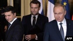 Лидеры Украины, Франции и России на саммите в Париже