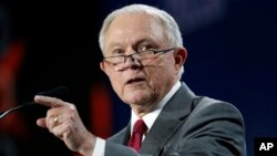 U.S. Attorney General Jeff Sessions speaks at the Western Conservative Summit, June 8, 2018, in Denver. On Friday Sessions announced the sentencing of 21 people in a call center scam.