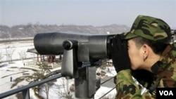 Tentara Korea Selatan siaga di wilayah perbatasan dengan Korea Utara.