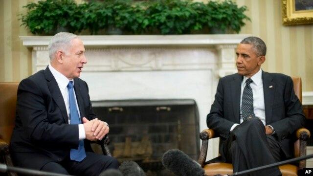 Tổng thống Barack Obama tiếp Thủ tướng Israel Benjamin Netanyahu trong phòng Bầu dục tại Tòa Bạch Ốc ở Washington, 1/10/2014.