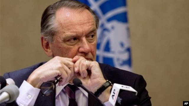 U.N. Deputy Secretary-General Jan Eliasson during news conference, Beijing, Feb. 22, 2013.