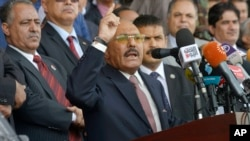FILE - Former Yemeni President Ali Abdullah Saleh speaks during a ceremony to celebrate the 35th anniversary of the founding of the Popular Conference Party, in Sana'a, Yemen.