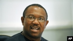 The incumbent governor-elect of Anambra State Peter Obi speaks on the result of gubernatorial election held in the state on 7 Feb 2010. The Anambra State gubernatorial election which is a prelude to next year's general elections was marred by irregulariti