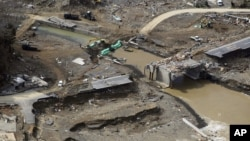 La prefectura de Miyagi, Japón, una semana después del terremoto y tsunami de 2011.