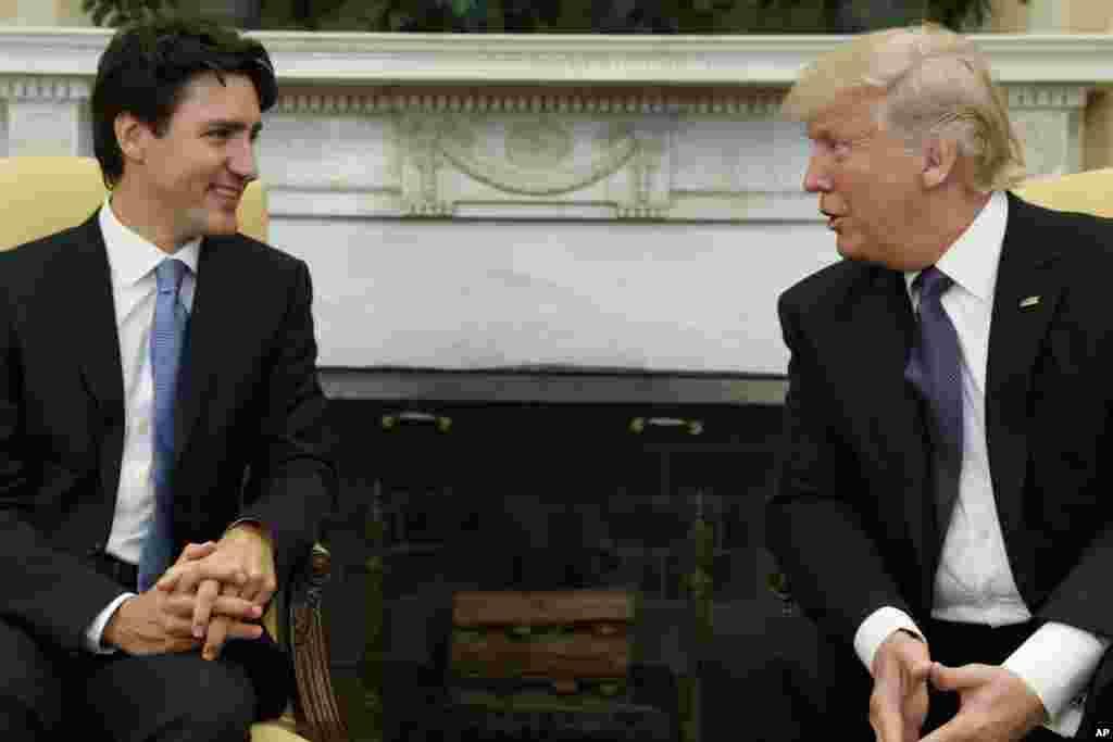 Em Fevereiro, Donald Trump recebeu o primeiro-ministro do Canadá, Justin Trudeau na Sala Oval