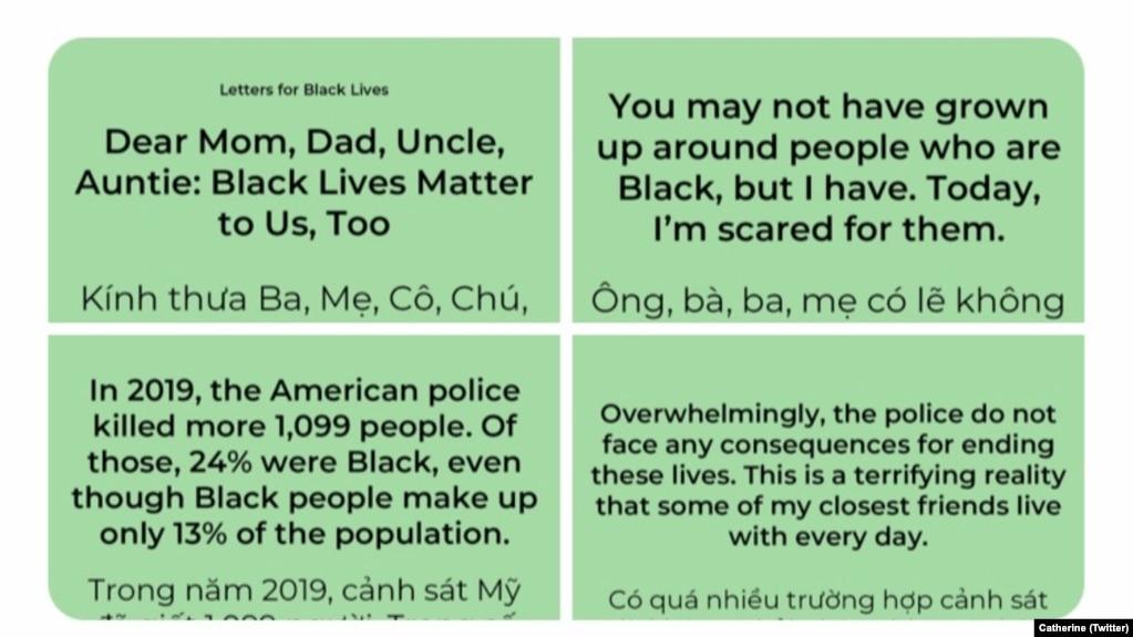 Những thông điệp của các bức thư Letters for Black Lives kèm với phần dịch tiếng Việt được Catherine Trần thu thập để chia sẻ với gia đình và bạn bè nhằm giúp họ hiểu về cuộc tranh đấu của người da đen đòi quyền bình đẳng. (Twitter Catherine)
