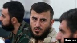លោក Zahran Alloush ស្ថាបនិកនៃកងទ័ពឥស្លាមថ្លែងក្នងុសន្និសីទមួយនៅក្នុងក្រុង Douma ប្រទេសស៊ីរី កាលពីថ្ងៃទី២៧ ខែសីហា ឆ្នាំ២០១៤។